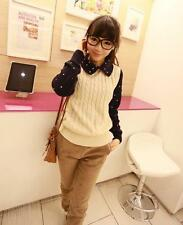 Korean Women's Fashion Pullover Collar Sweater Top Long Sleeve