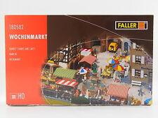LOT 17727   Faller HO 180582 Wochenmarkt Market Stands Carts Bausatz NEU in OVP