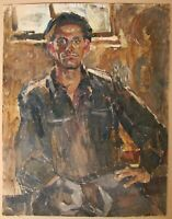 Russian Ukrainian Soviet Oil Painting realism male portrait steelmaker man