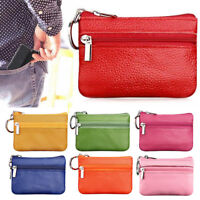 Women Leather Mini Change Wallet Bus Card Coin Purse With Key Clip Small Bag HOT