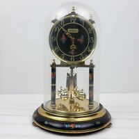 Waltham Glass Clock Black Gold Floral Works Spins