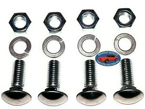 "GM GMC 7/16-14x1-1/4"" Stainless Capped Round Head Front Rear Bumper Bolts 4pcs A"