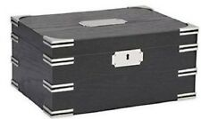 OXFORD 120 Gloss Black Wood Grain Finish~Accented w-Silver Corners Cigar Humidor