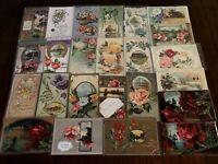 ~Lot of 25~ Pretty ~Flowers & Scenes~Vintage Floral Greetings Postcards-g301