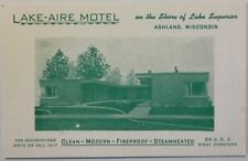 Vintage Postcard Ashland, Wisconsin Lake Aire Motel Advertisement