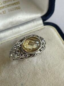 Vintage 925 Silver & Lemon Topaz Solitaire Openwork Dress Ring Size O 5 Grams