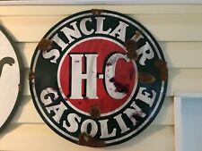 Antique look Sinclair HC Gasoline Porcelain style gas oil pump plate large sign