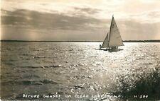 c1940Before Sunset on Clear Lake, Iowa Real Photo Postcard/Rppc