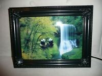 """Vintage Moving Picture Lamp W Sound Waterfall & Panda Nature Scene 9"""" x 12"""" NEW"""
