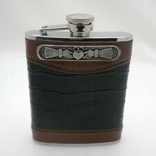 6 oz Leather Whiskey Flask with Irish Claddagh by Mullingar Pewter Captive Lid