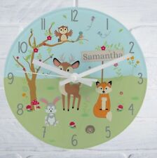 Children's Personalised Woodland Glass Bedroom Clock Add Name Girls Boys Name