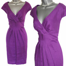 FENN WRIGHT MANSOON Studio Raspberry/Purple Linen V Neck Casual Dress 14 £149