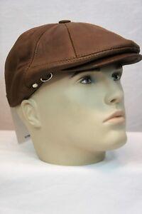 CAMEL 100% LEATHER Men Gatsby Cap Newsboy Ivy Hat Golf Driving Flat NWT S-3XL