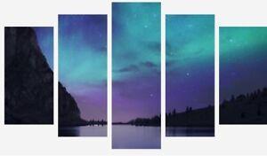 Northern Lights - Calm Purple Sky Lake 5 Split Panel Canvas Pictures Prints