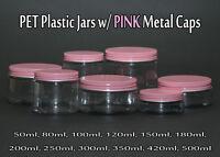 Empty PET Plastic Jars - Clear Jars and PINK Metal Screw Caps Lids 50ml-500ml