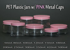 Empty PET Plastic Jars - Clear Jars and PINK Metal Screw Caps Lids 50ml-500ml