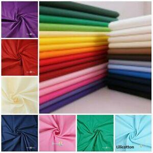 "100% Cotton  POPLIN PLAIN DYED FABRIC OEKOTEX CERTIFIED Fabric Sheeting 64"" wide"