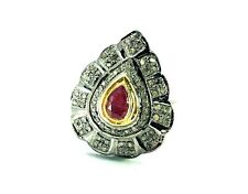 Natural Rose Cut Diamond, Ruby & 925 Sterling Silver Handmade Ring  Fine Jewelry