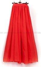 Women Adult Teen SUMMER Double Layer Chiffon Long Maxi Elastic Waist Skirt