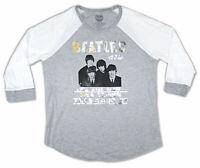 Beatles Shea Stadium Foil  Girls Juniors Grey Raglan T Shirt New Official Merch