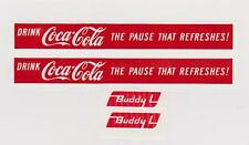 "BUDDY-L COKE TRUCK DECAL SET-1-  6"" LG  X  5/8"""
