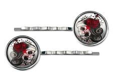 Day of the Dead Sugar Skull Girl Silver Plated Glass Hair Clip Barrette Set