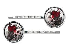 Punk Day of the Dead Sugar Skull Girl Silver Glass Hair Clip Jewelry Barrette