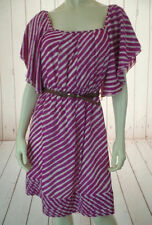SHOSHANNA Dress 6 Magenta White Silk Striped Pullover Flutter Sleeves Belt CHIC!