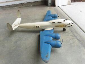 "1940s Buddy L Transport Plane Pressed Steel Wood Wheels 4 Engines 27"" Wing Span"
