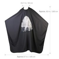 Salon Barber Hair Cutting Gown Cape With Viewing Window Hairdresser Apron GI8