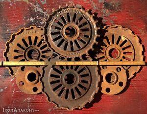 6 FARMHOUSE SPROCKET DECOR Vtg Antique Cast Iron Industrial Metal Gear Wheel Cog
