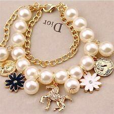 Imitation Pearl & Gold Plated Chain Crystal Horse Flower Coin Charm Bracelet