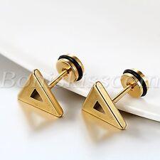 Men's Classic Gold Tone Hollow Triangle Stainless Steel Greek Key Earrings Studs