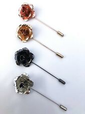Rose Gold Mens Floral Lapel pin Boutonniere Brooches Groomsmen Tuxedo Suit Pin