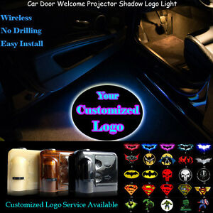 2x Your Customized Logo Wireless Car Door Laser Projector Ghost Shadow LED Light
