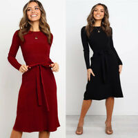 New Casual Women Knitted Autumn Winter Long Sleeve Midi Sweater Dress Red Black