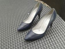 Vtg Hardly Worn Navy BALLY Leather Heels Size 4.5