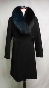 1 Madison Wool Expedition Belt Teal Black Fox Fur Collar Walker Coat L-XL $950