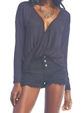 Sexy Black L/S Wrap twist front draped shorter front plunge top m wet seal nwts