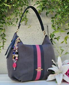 Coach Varsity skylar Stripe shoulder Hobo Bag purse satchel taupe/navy handbag