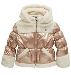 River Island Girls Warm Padded Fur Trim Coat Metalic Bronze Age 11-12 Years NEW