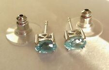 Cambodian Blue Zircon Platinum Over Sterling Silver Stud Earrings TGW 1.80 cts