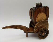 Vintage Handcrafted Rustic Wooden Wagon Buggy Cart with 6 Wood Apple Coasters