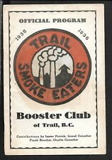 1935-36 THE TRAIL SMOKE EATERS (WHKL) HOCKEY PROGRAM vs ROSSLAND MINERS, JAN 8