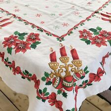 Vintage Mid Century Linen Printed Christmas Tablecloth Red Candles 48 x 62