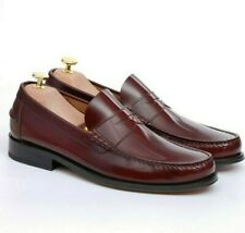 Loake Men`s Princeton Penny Loafer Shoes  - Plum Size 9 F