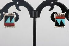 TM SILVER ONYX TURQUOISE CORAL INLAID STONES SQUARE STUD EARRINGS SGND 925 5247B
