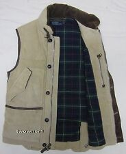 Used Polo Ralph Lauren leather suede hunting down vest puffer M Thick !