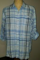 Tommy Bahama Mens Long Sleeve Linen Button-Up Camp Shirt XL Blue Plaid