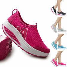 Женские сетчатые дышащие скольжения на беговые туфли на платформе, повседневная, спортивная, кроссовки